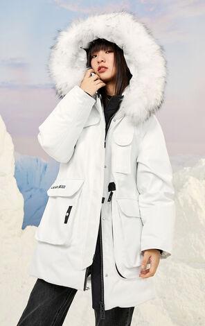 保暖毛領連帽中長款羽絨外套