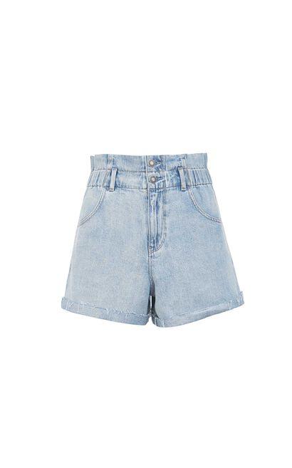 雙腰頭修身水洗單寧短褲, 水藍色, large