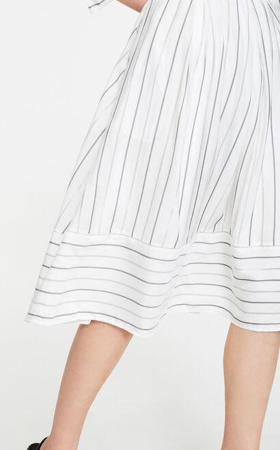 條紋輕熟氣質襯衫洋裝, 白, large