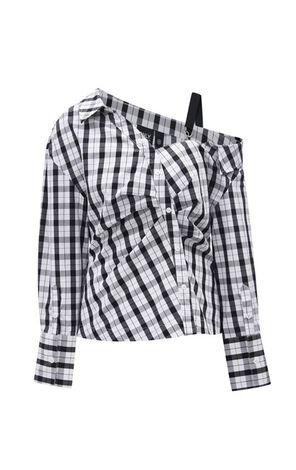 時尚潮流格紋設計寬鬆長袖雪紡衫