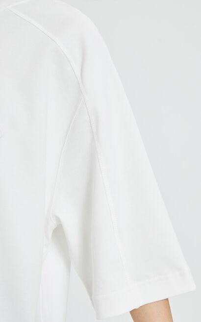 笑臉純棉五分袖T恤, 白, large