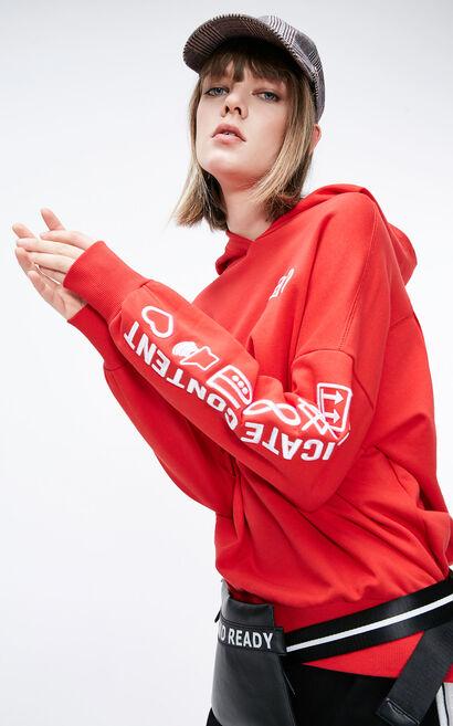 寬鬆男友風連帽大學T, 紅色, large