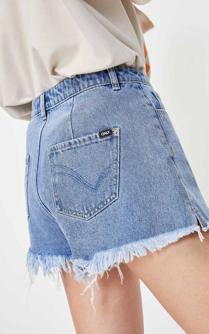 開衩做舊牛仔短褲, 藍, large