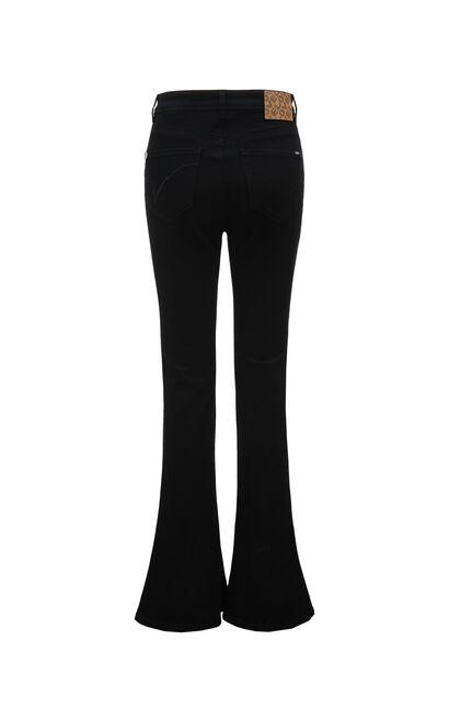 時尚潮流高腰顯瘦修身微喇叭牛仔褲, 黑, large