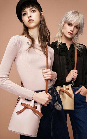 冬季新款可調節磁扣單肩水桶包女|11838Q512