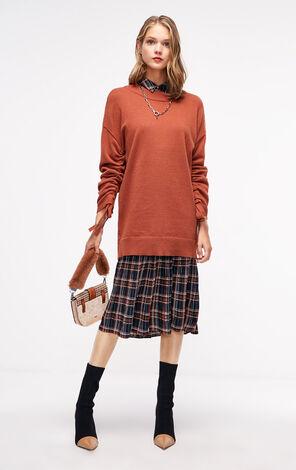 冬季新款袖口繫帶中長款針織衫女|118324517