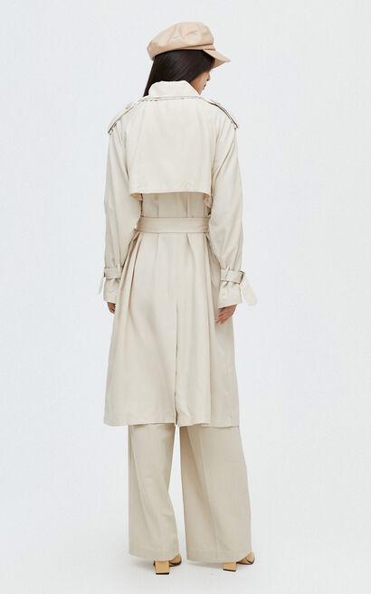 歐風氣質純色長版風衣外套, 杏色, large