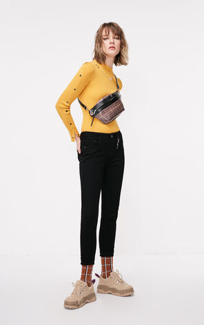 ONLY2019春季新款低腰捲邊彈力九分牛仔褲|119149582