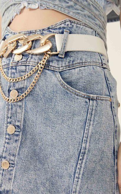 收腰A字牛仔短裙, 藍, large