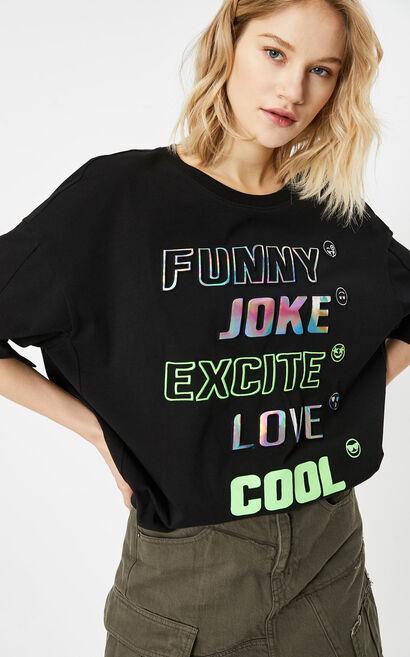 時髦鐳射字母印花百搭T恤, 黑, large