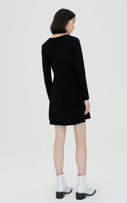 氣質優雅V領針織連衣裙, 黑, large