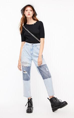 ONLY2019秋季新款黑色修身薄針織衫|119324516