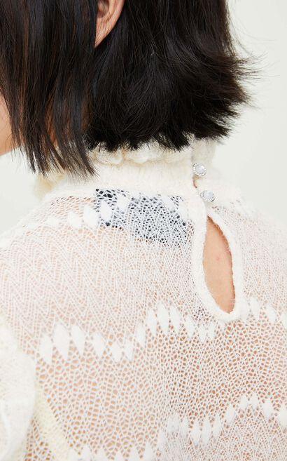 氣質甜美鏤空小立領長袖上衣, 杏色, large