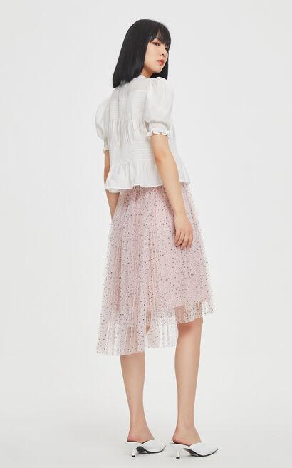不對稱設計中長紗裙, 粉色, large