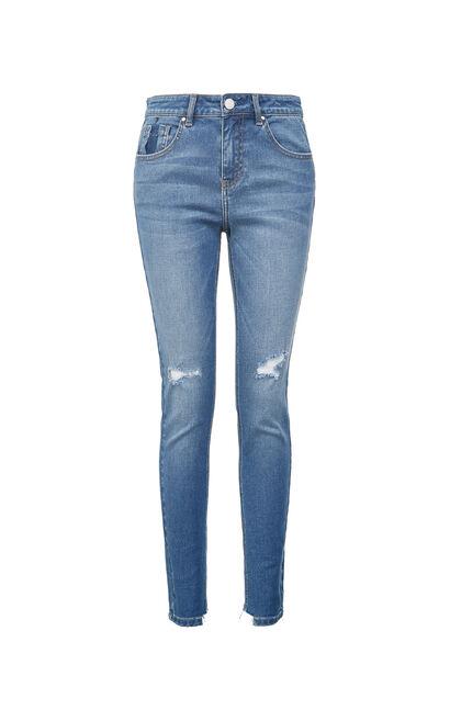 中腰合身不規則腳口牛仔褲, 淺藍, large
