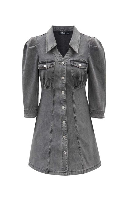 復古V領七分袖牛仔洋裝, 藍灰, large