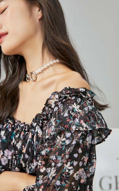 【秋冬新款】印花荷葉領繫帶中長版洋裝, 黑, large