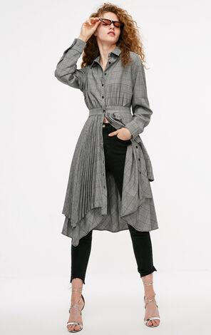 冬季新款復古格子襯衫連衣裙女|118307617