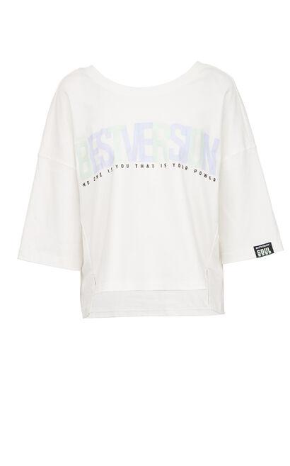 字母印花寬鬆慵懶風潮流上衣, 白, large