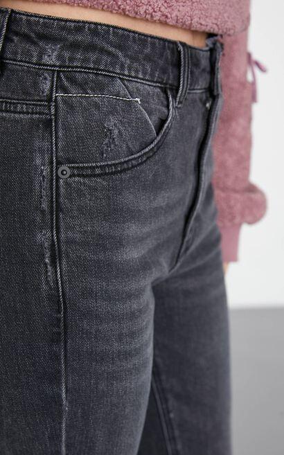 高腰顯瘦寬鬆直筒九分丹寧褲, 黑, large