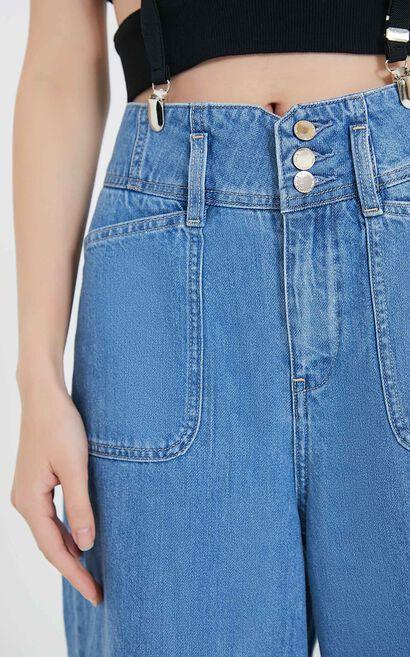 休閒排扣顯瘦闊腿丹寧褲, 藍, large
