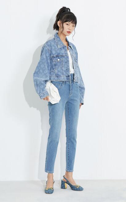 氣質顯瘦設計高腰九分牛仔褲, 藍, large