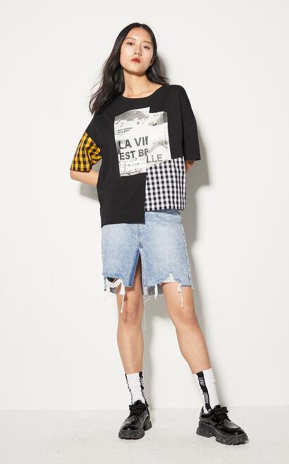 不規則拼接印花寬鬆短袖上衣, 黑, large