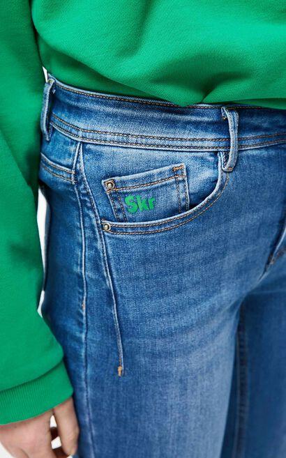 撞色字母緊身彈力丹寧褲, 藍灰, large