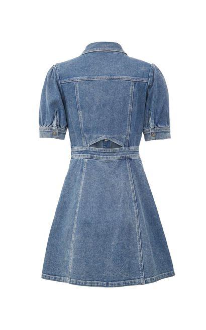 氣質泡泡袖牛仔連身裙, 藍, large