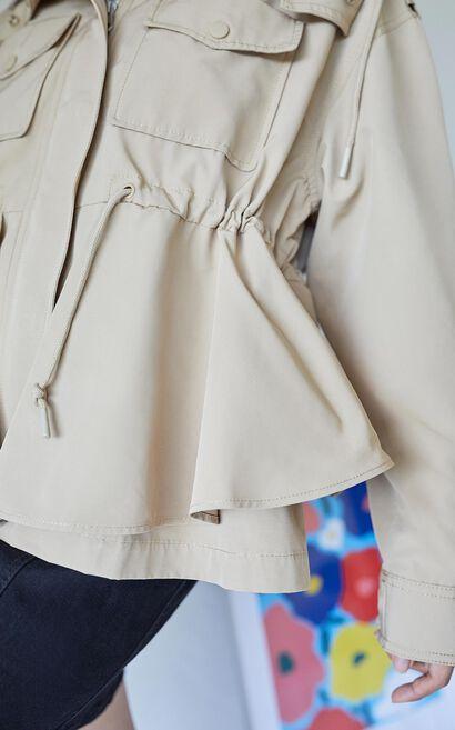 連帽抽繩工裝風衣外套, 棕色, large