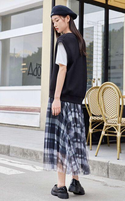 【2件8折】復古格紋網紗百搭長裙, 黑, large