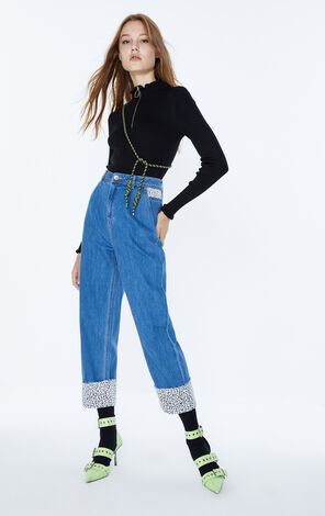 ONLY2019秋季新款豹紋高腰寬鬆直筒牛仔褲|119349562