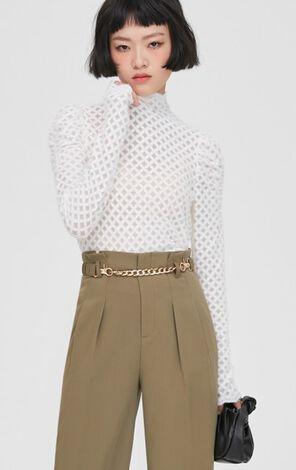 時尚百搭寬鬆高領泡泡袖T恤