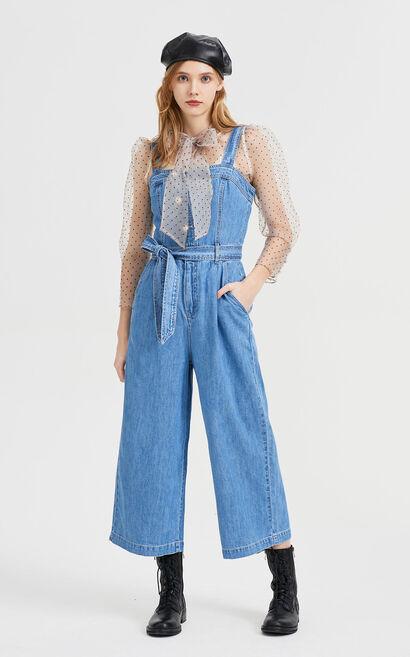 純棉休閒繫帶丹寧連身褲, 藍, large