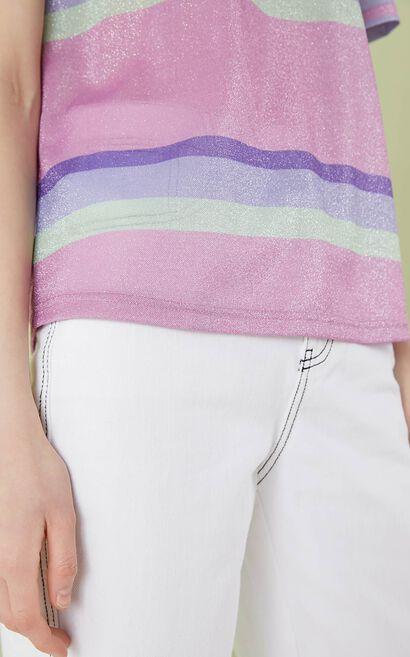 圓領條紋英文字短袖上衣, 紫色, large