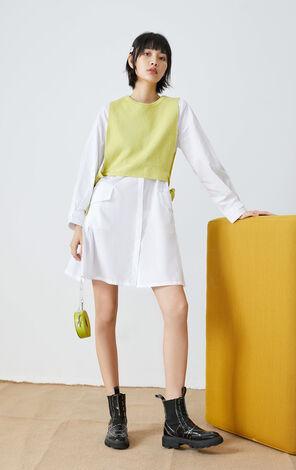 【秋冬新款】純棉寬鬆大口袋襯衫洋裝