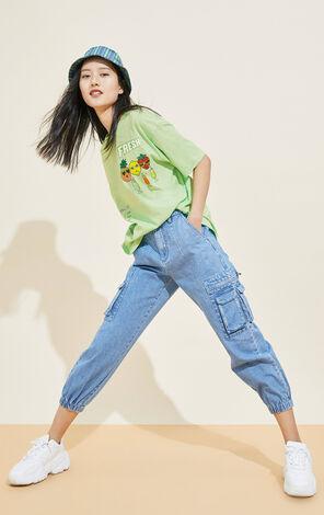 童趣時尚印花寬鬆T恤