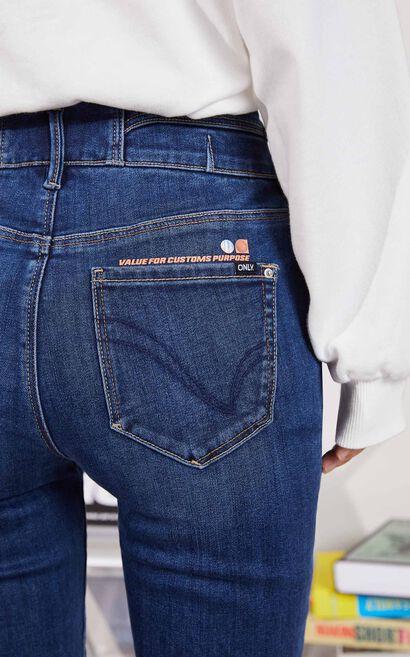 【秋冬新款】顯瘦款百搭九分丹寧褲, 藍, large