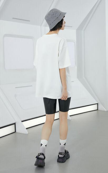 潮感印花設計短袖上衣, 白, large