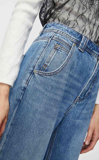 寬鬆直筒男友風淺色九分丹寧褲, 藍, large