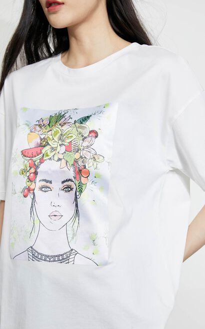 插畫刺繡串珠設計圓領T恤, 白, large
