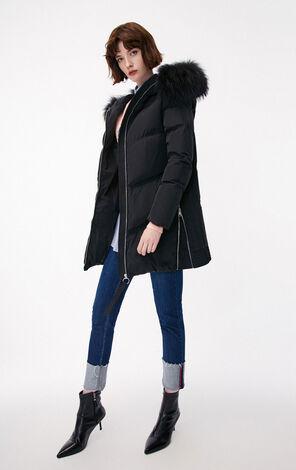 冬季新款側拉鍊連帽長款羽絨服女|118412502