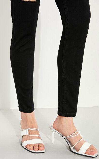 百搭高腰破洞窄管九分牛仔褲, 黑, large