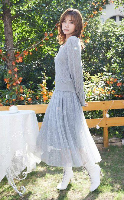 氣質方領2in1針織洋裝, 淺灰, large
