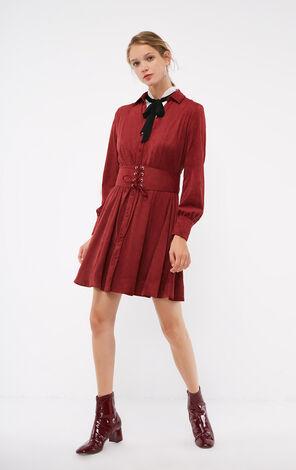 秋季新款絨面珠扣V領連衣裙女|118307579