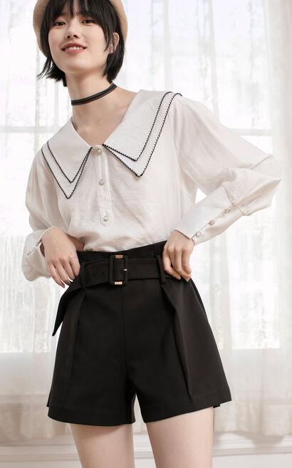 【2件8折】高腰直筒寬鬆格紋休閒褲, 黑, large