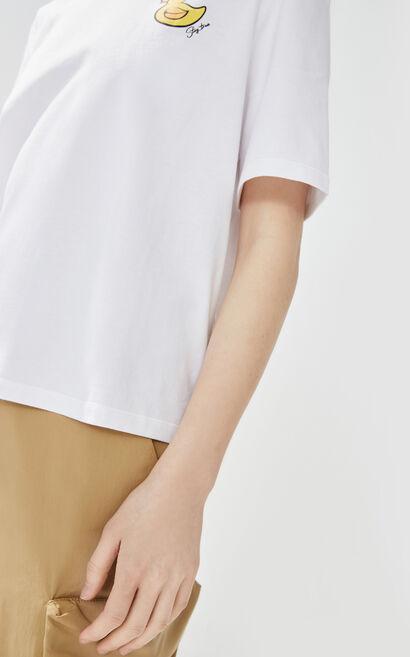 卡通印花圓領T恤, 白, large
