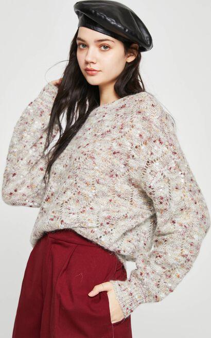 慵懶休閒風羊毛針織衫, 薰衣草紫, large