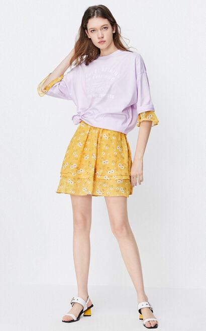 圓領親膚字母印花T恤, 紫色, large