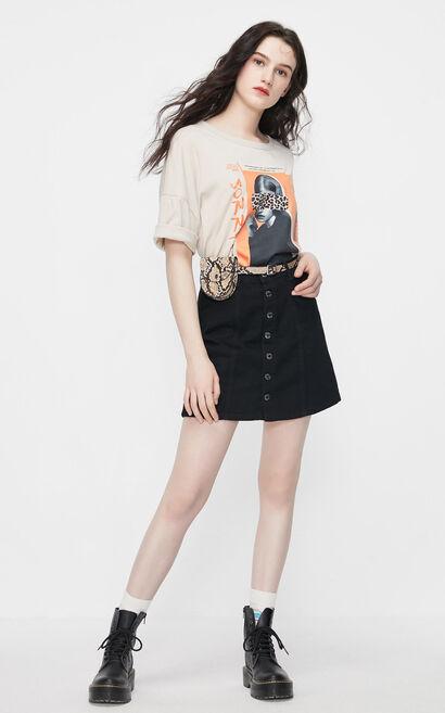 氣質酷黑牛仔短裙, 黑, large